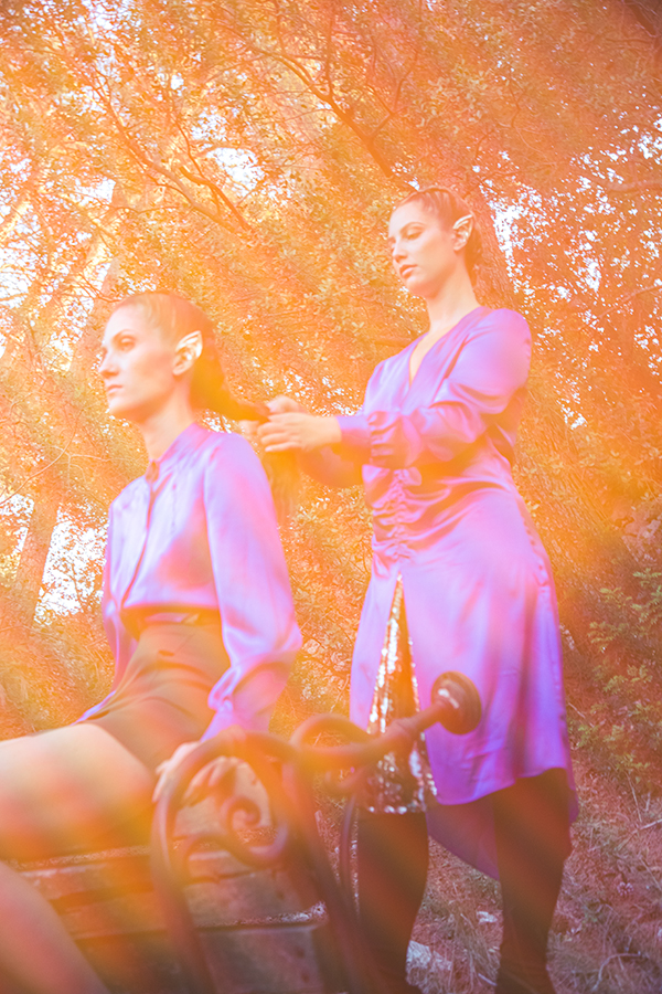 abito lungo in seta viola macramè italia