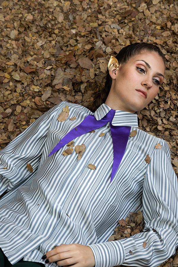 camicia in seta a righe camicia donna macramè italia
